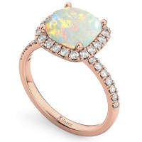 Cushion Cut Halo Opal & Diamond Engagement Ring 14k Rose