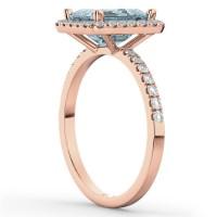 Aquamarine & Diamond Engagement Ring 18k Rose Gold (3.32ct ...