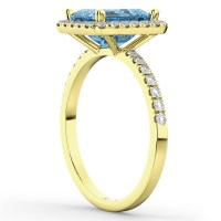 Blue Topaz & Diamond Engagement Ring 14k Yellow Gold (3 ...