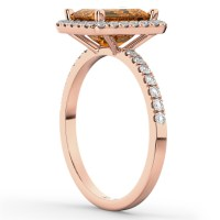 Emerald-Cut Citrine Diamond Engagement Ring 18k Rose Gold ...