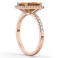 Emerald-Cut Citrine Diamond Engagement Ring 18k Rose Gold ...