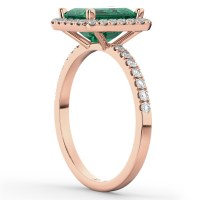 Emerald & Diamond Engagement Ring 14k Rose Gold (3.32ct ...
