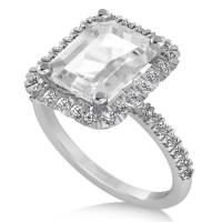 White Topaz Diamond Engagement Ring 18k White Gold (3.32ct ...