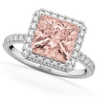 Princess Cut Halo Morganite & Diamond Engagement Ring 14K ...