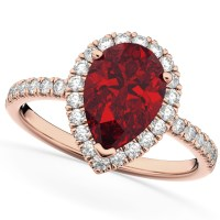 Pear Cut Halo Ruby & Diamond Engagement Ring 14K Rose Gold