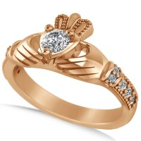 Diamond Claddagh Engagement Ring in 14k Rose Gold (0.42ct ...