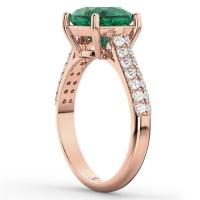 Cushion Cut Emerald & Diamond Engagement Ring 18k Rose ...