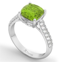 Cushion Cut Peridot & Diamond Ring 14k White Gold (4.42ct