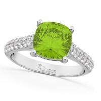 Cushion Cut Peridot & Diamond Ring 18k White Gold (4.42ct