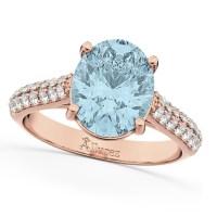 Oval Aquamarine & Diamond Engagement Ring 14k Rose Gold 4 ...