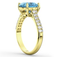 Oval Blue Topaz & Diamond Engagement Ring 14k Yellow Gold ...