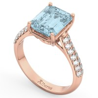 Emerald-Cut Aquamarine & Diamond Engagement Ring 18k Rose ...