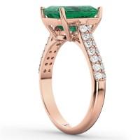 Emerald-Cut Emerald & Diamond Engagement Ring 18k Rose ...
