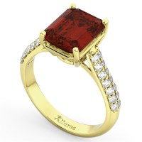 Emerald-Cut Garnet & Diamond Ring 14k Yellow Gold (5.54ct ...