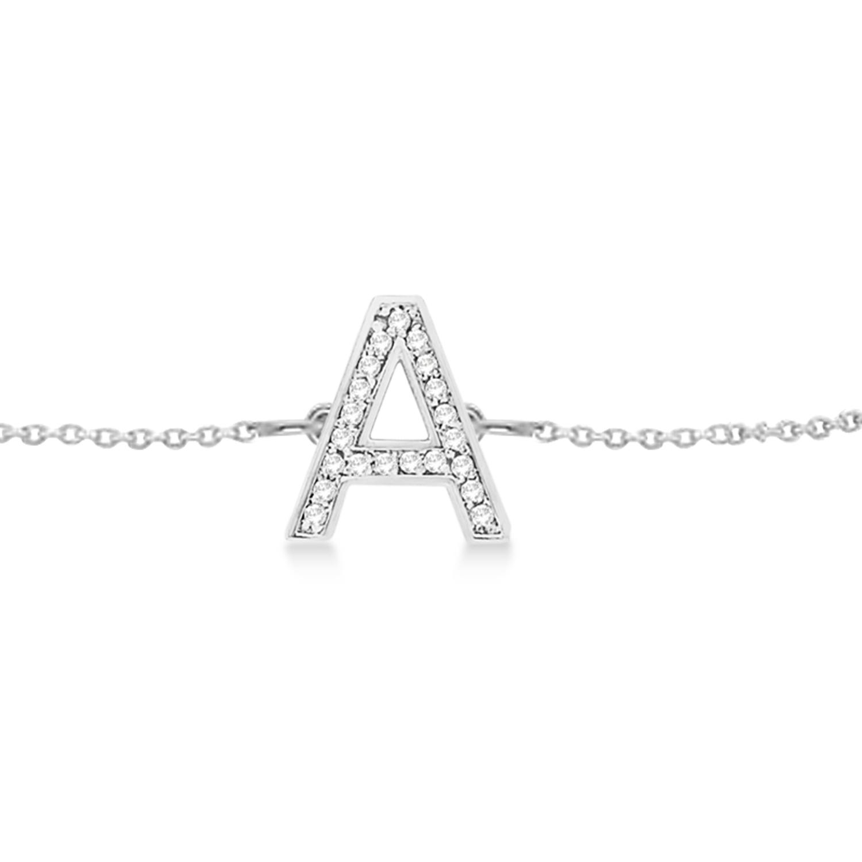 Custom Tilted Diamond Block Letter Initial Bracelet 14k