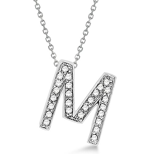 Custom Tilted Diamond Block Letter Initial Necklace 14k