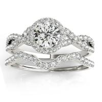 Twisted Infinity Engagement Ring Bridal Set Platinum 0