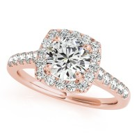 Square Halo Round Diamond Engagement Ring 14k Rose Gold 1 ...
