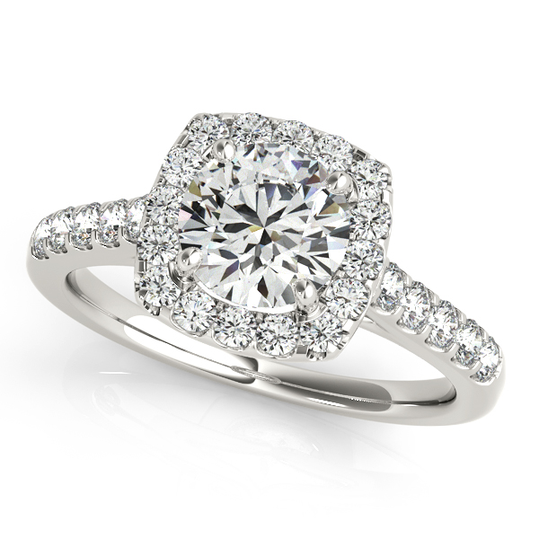 Square Halo Round Diamond Engagement Ring 14k White Gold 138ct  NG4577
