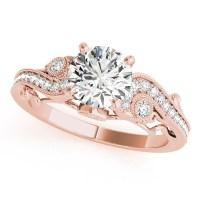 Vintage Swirl Diamond Engagement Ring 14k Rose Gold (2 ...