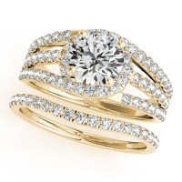 Triple Band Diamond Engagement Ring Bridal Set 18k Yellow ...