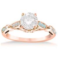 Marquise & Dot Aquamarine Vintage Engagement Ring 14k Rose ...