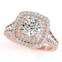 Square Double Halo Diamond Engagement Ring 14k Rose Gold ...