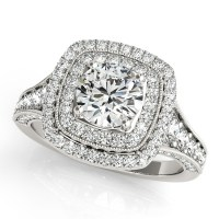 Square Double Halo Diamond Engagement Ring 14k White Gold ...