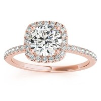 Square Halo Diamond Engagement Ring Setting 18k Rose Gold