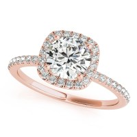 Square Halo Round Diamond Engagement Ring 14k Rose Gold ...