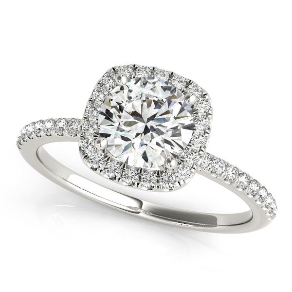Square Halo Round Diamond Engagement Ring 14k White Gold 1ct  NG3132