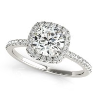 Square Halo Round Diamond Engagement Ring 14k White Gold ...
