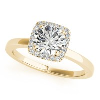 Diamond Square Solitaire Halo Engagement Ring 14k Yellow ...