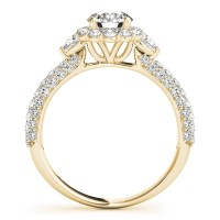 Flower Halo Pear Cut Diamond Engagement Ring 18k Yellow ...
