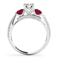 Diamond & Ruby 3 Stone Engagement Ring Setting Platinum 0