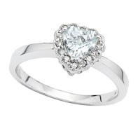Aquamarine & Diamond Vintage Heart Promise Ring 14k White ...