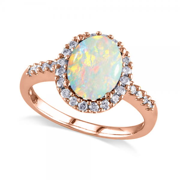 Oval Opal & Halo Diamond Engagement Ring 14k Rose Gold 2