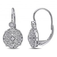 Vintage Style Leverback Diamond Earrings Floral 14k White