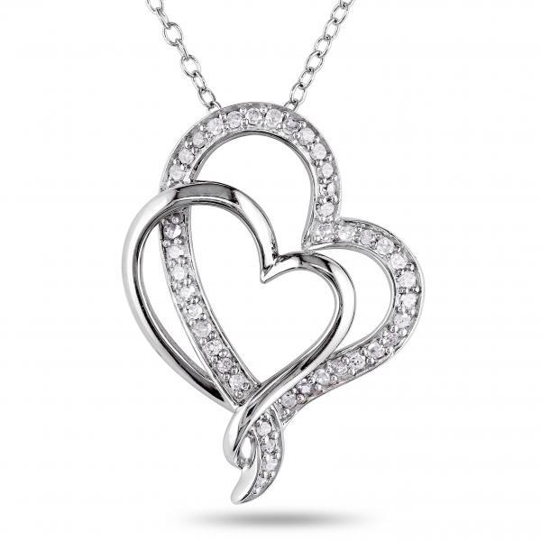 Double Open Heart Diamond Pendant Pave Set Sterling Silver