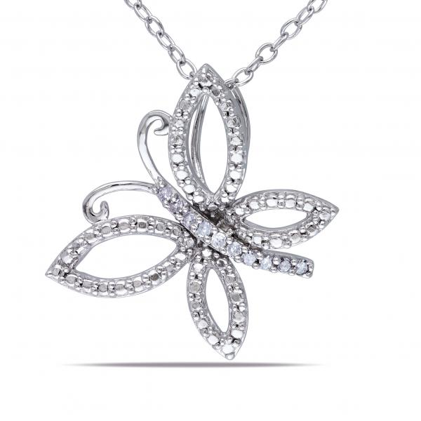 Tilted Butterfly Pendant Necklace Diamond Accent Sterling