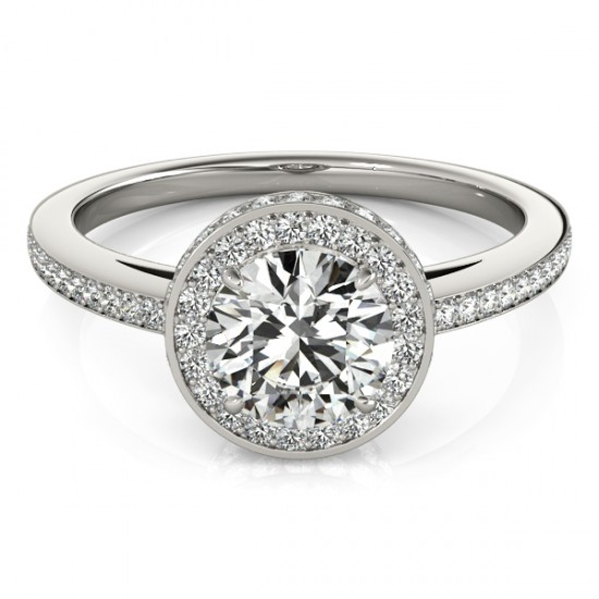 Twotier & Halo Round Cut Engagement Ring 14k White Gold 1