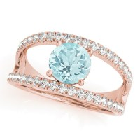 Aquamarine Split Shank Engagement Ring 18K Rose Gold 0 ...