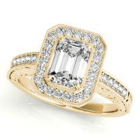 Antique Emerald Cut Diamond Engagement Ring 18k Yellow ...