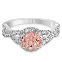 Morganite & Diamond Twisted Engagement Ring 14k White Gold ...