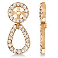 Ladies Teardrop Dangle Diamond Earring Jackets 14k Rose ...