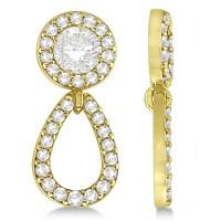 Ladies Teardrop Dangle Diamond Earring Jackets 14k Yellow ...
