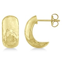 Hammered Hoop Drop Earrings in 14k Yellow Gold - RE1013