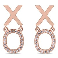 Diamond XO Fashion Post Earrings 14k Rose Gold (0.11ct ...