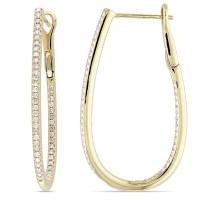 Diamond Loop Cuff Earrings 14k Yellow Gold (0.50ct) - DE627