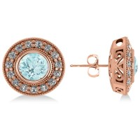 Aquamarine & Diamond Halo Round Earrings 14k Rose Gold 3